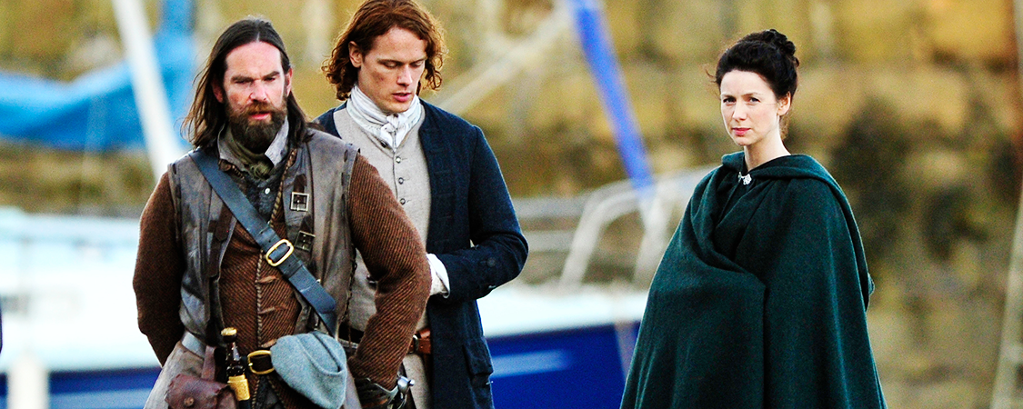 Duncan | Event Images 2015 Duncan, Sam Heughan, and Caitriona Balfe Film A Scene For Outlander